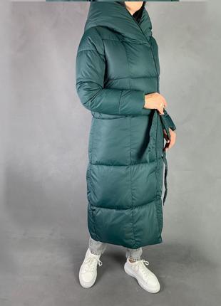 Тёплый зимний пуховик одеяло/длинное  пальто био пух изумрудный цвет7 фото