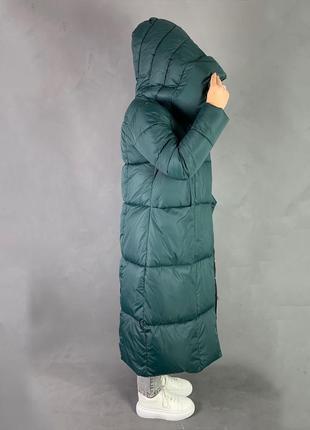 Тёплый зимний пуховик одеяло/длинное  пальто био пух изумрудный цвет2 фото