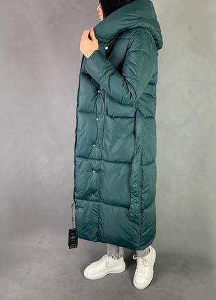 Тёплый зимний пуховик одеяло/длинное  пальто био пух изумрудный цвет1 фото