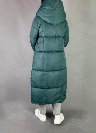 Тёплый зимний пуховик одеяло/длинное  пальто био пух изумрудный цвет4 фото