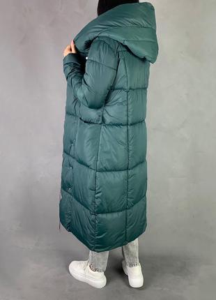 Тёплый зимний пуховик одеяло/длинное  пальто био пух изумрудный цвет5 фото