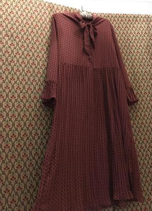 Платье плиссе плиссированное балахон горошек завяз бант ретро винтаж миди
