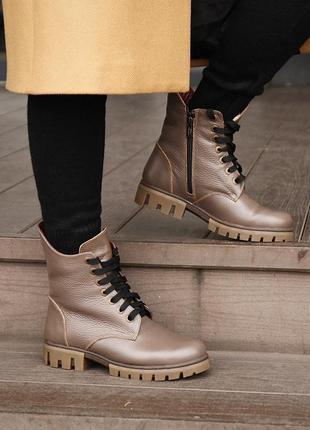 Стильные кожаные зимние ботинки с косым верхом голенища, ботинки кожа зима