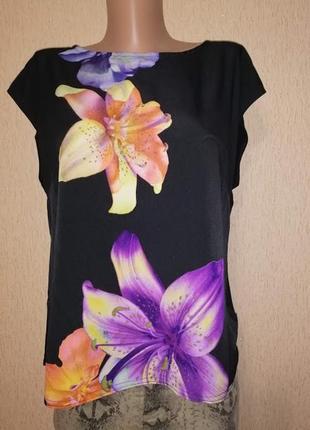 🔥🔥🔥красивая женская черная футболка, блузка в цветочный принт bhs🔥🔥🔥