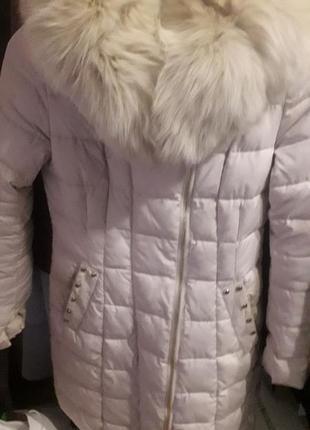 Куртка пуховик теплая бежевая