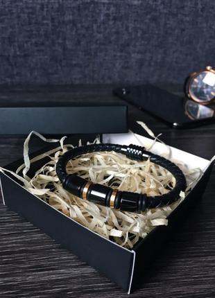 Мужской кожаный браслет {магнитная застежка/натуральная кожа}