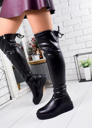 ❤ женские черные зимние высокие сапоги ботфорты полусапожки ботильоны на меху ❤
