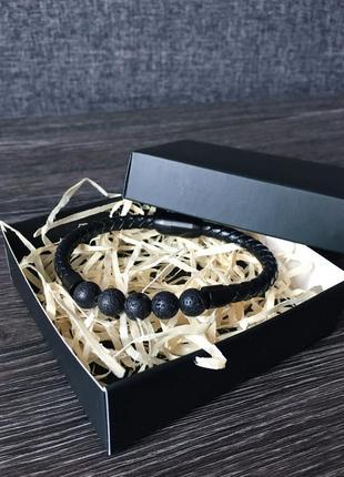 Мужской кожаный браслет комбинированный (магнитная застежка/натуральная кожа)