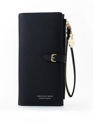 Стильный женский кошелёк органайзер черный