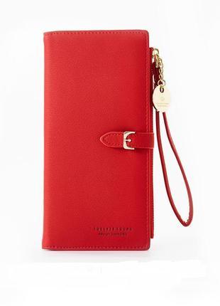 Стильный женский кошелёк органайзер красный