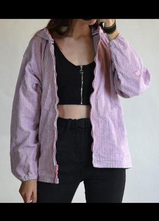 Весенняя вельветовая куртка оверсайз лиловая сиреневая в рубчик deal
