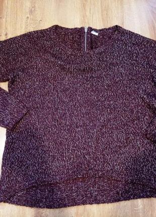 Бордовый твидовый свитер