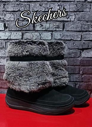 Кожаные сапоги ботиночки skechers оригинал