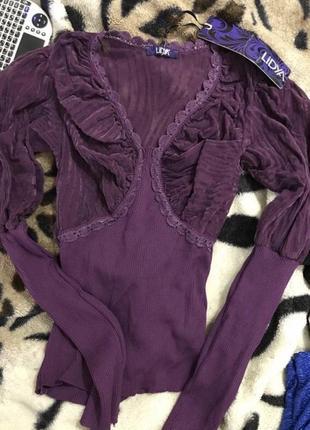 Нарядная фиолетовая кофта с рукавами