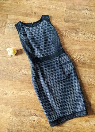 Платье - футляр со вставками из перфорированного  кожзама