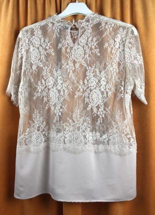 Блузка прозрачная,кружево,нежно-розовая.италия