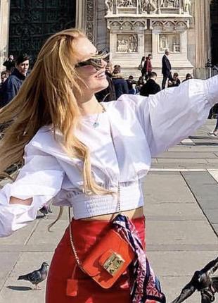 Блуза zara кроп рубашка спина открытая шнуровка