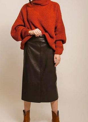 Утеплённая тёплая кожаная юбка миди