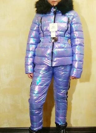 Стильные зимние голографические костюмы для девочек подростков.
