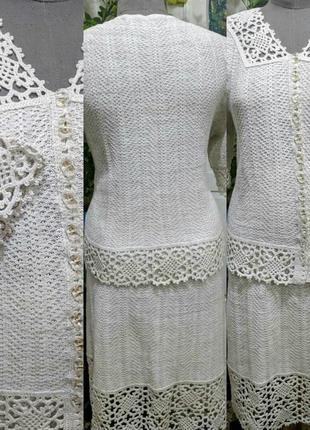 Вязаный женский льняной костюм , р . 56