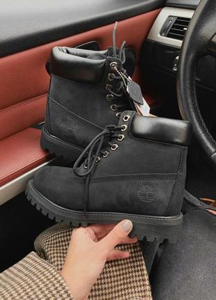 Ботинки timberland black мех