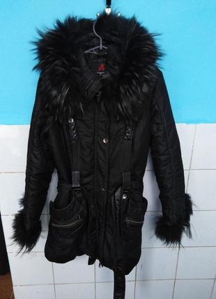 Куртка-пальто с чернобуркой на синтепоне