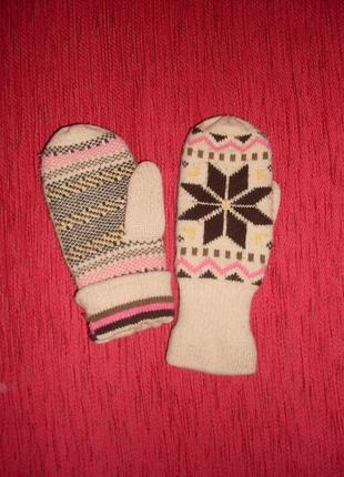 Зимние варежки перчатки на подкладке теплые