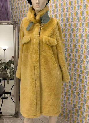 Натуральная шуба лимонного цвета {100 % овчина стриженная шерсть} l