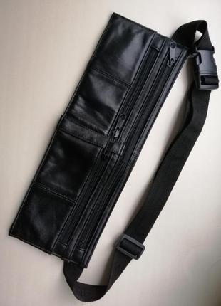 Кожаная сумка  кошелёк ( как бананка), 100% натуральная кожа