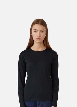 Чорна преміум футболка з довгим рукавом для жінок
