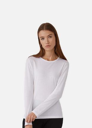 Біла преміум футболка з довгим рукавом для жінок