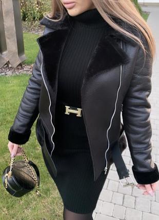 Чёрная тёплая дубленка на меху, дубленка авиатор, тёплая зимняя куртка косуха