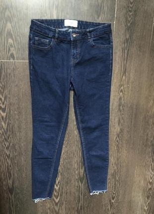 Синие джинсы skinny с необработанными краями высокая посадка