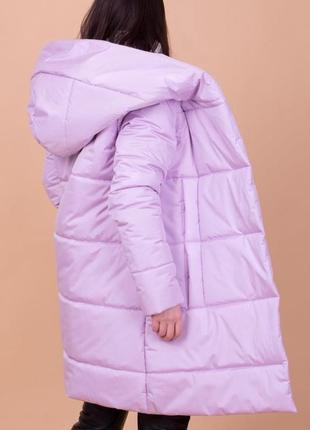 Сиреневая| очень теплая зимняя куртка с капюшоном| цена от производителя!