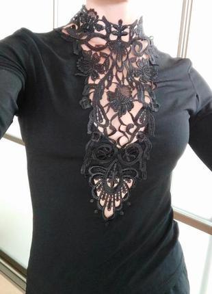 Шикарный топ блуза кофта водолазка с кружевом черный гольф боди вечерний