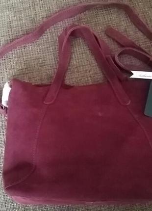 Замшевая супер сумка mango цвет бордо