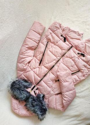 Удлиненная розовая дутая куртка,пуховик, зимняя куртка с мехом