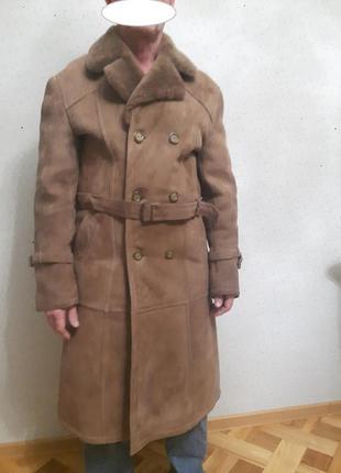Дубленка-пальто натуральная мужская размер 46-48 турция (фабрика) в отличном состоянии