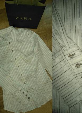 Нарядная рубашка/блузка стрейч zara m