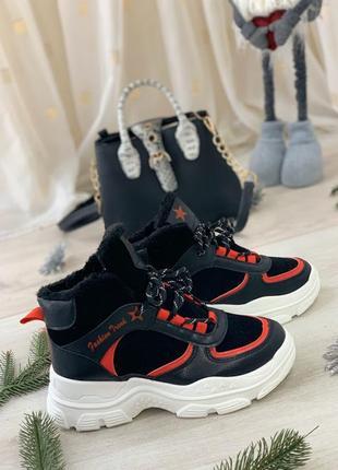 Ботинки кроссовки зимние женские