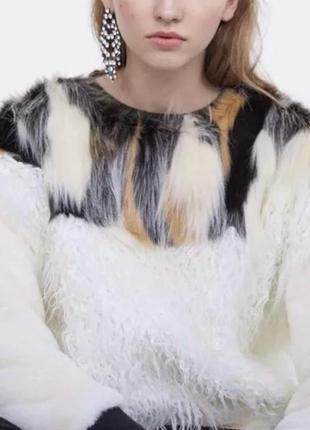 Шикарный меховой свитшот свитер кофта теплая с контрастым мехом zara