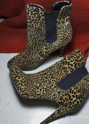 Ботинкит леопардовые, осенние, подойдут на теплую зиму  новые