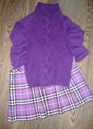 Вязаный свитер под горло из итальянского кид мохера, ручная работа