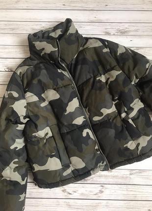Куртка зимняя короткая h&m пуховик парка пальто оверсайз тренд камуфляж