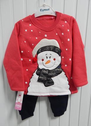 Детский теплый костюм со снеговиком турция eymus