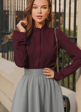 Блуза воротник-стойка с длинным рукавом винного цвета 🔥