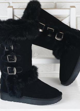 Угги женские замшевые высокие сапоги зимние с кроликом черные унты