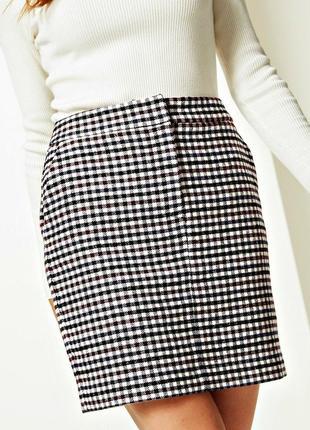 Демисезонная юбка с шерстью в модную клетку с карманами р.18