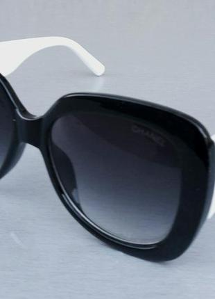 Chanel очки женские солнцезащитные большие черные с белыми дужкамм