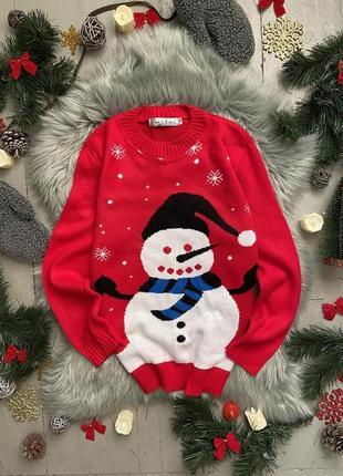 Новогодний рождественский свитер джемпер со снеговиком №77